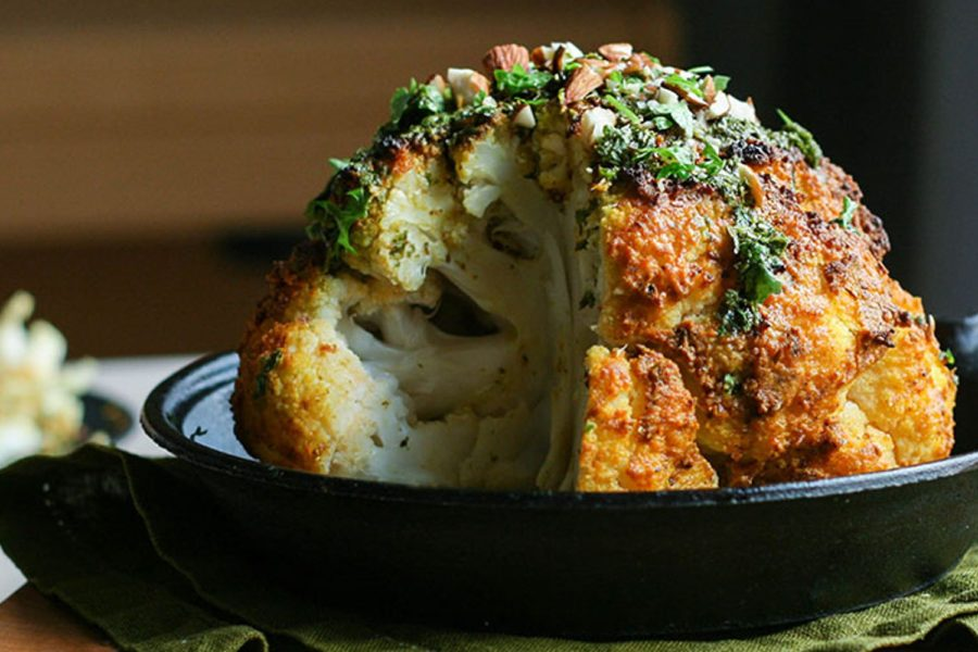 tahini-roasted-cauliflower-with-lemony-herb plant based entree